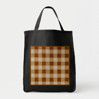 Retro Grunge Brown Gingham Reusable Black Tote Bags