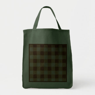 Retro Grunge Brown Gingham Reusable Hunter Green Canvas Bag