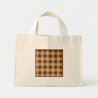 Retro Grunge Brown Gingham Small Tote Bag