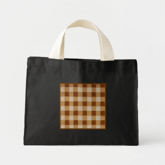 Retro Grunge Brown Gingham Small Black Tote Bag
