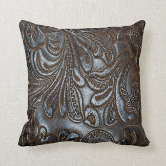 Retro Grunge Custom Leather Throw Pillow