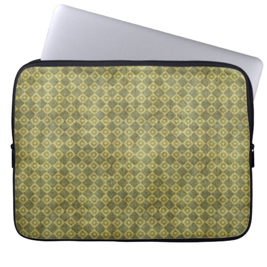 Retro Grunge Green Diamond Pattern Laptop Sleeve