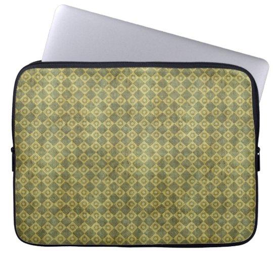 Retro Grunge Green Diamond Pattern Laptop Sleeves