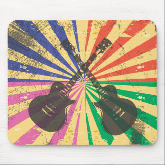 Retro Grunge Guitars on starburst background Mouse Mat