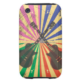 Retro Grunge Guitars on starburst background Tough iPhone 3 Covers