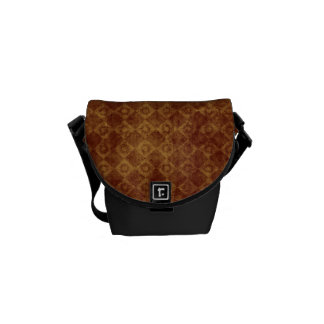 Retro Grunge Rust Diamond Pattern Messenger Bags