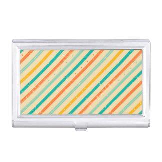 Retro grunge striped pattern business card holder