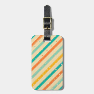 Retro grunge striped pattern luggage tag