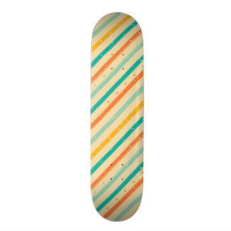 Retro grunge striped pattern skateboard