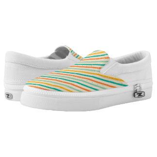 Retro grunge striped pattern Slip-On shoes