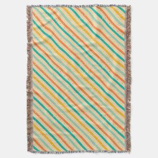 Retro grunge striped pattern throw blanket