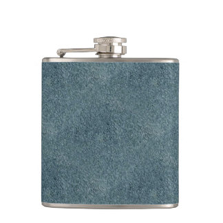 Retro Grunge Suede Custom Blue Texture Hip Flask