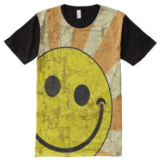 Retro Grungy Smiley Sunburst All-Over Print T-Shirt