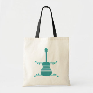 Retro Guitar Bag, Teal Tote Bag