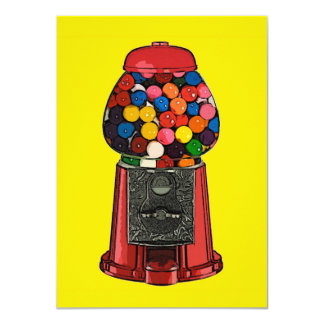 Retro Gumball Machine Party 11 Cm X 16 Cm Invitation Card