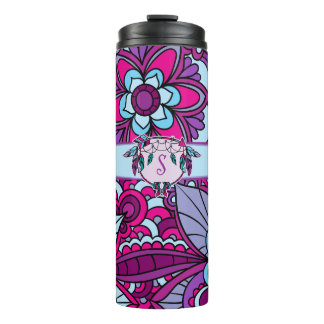 Retro Gypsy, Blue and Purple Thermal Tumbler