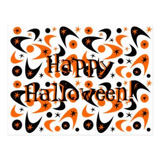 Retro Halloween Boomerang Starburst Postcard