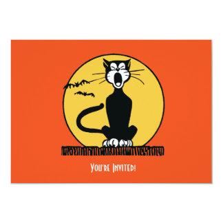 Retro Halloween Cat and Moon Invitation
