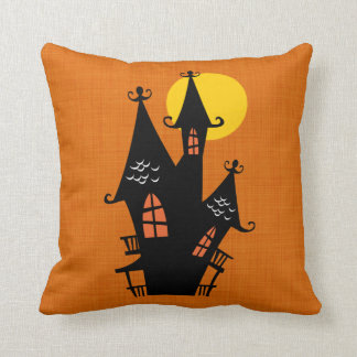 Retro Halloween Haunted House Cushion