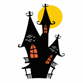 Retro Halloween Haunted House Cut Outs