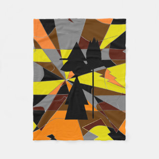 Retro Halloween Witch Abstract Fleece Blanket