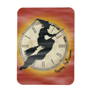 Retro Halloween Witch on a Broom Rectangular Photo Magnet