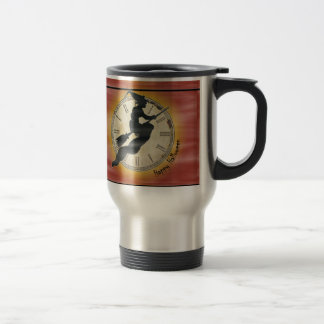Retro Halloween Witch on a Broom Stainless Steel Travel Mug