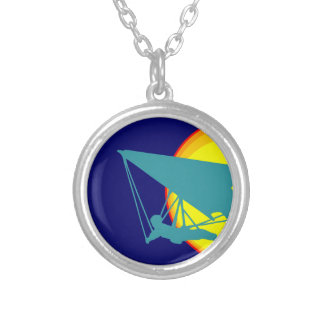 retro hang glider silver plated necklace