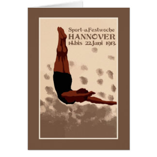 Retro Hannover Germany Sports Diving ad Greeting Card