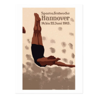 Retro Hannover Germany Sports Diving ad Postcards