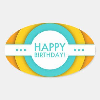 retro happy birthday oval sticker