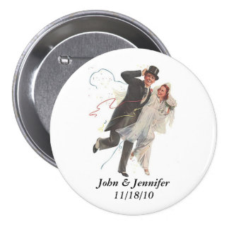 Retro Happy Elated Wedding Couple Gifts 7.5 Cm Round Badge