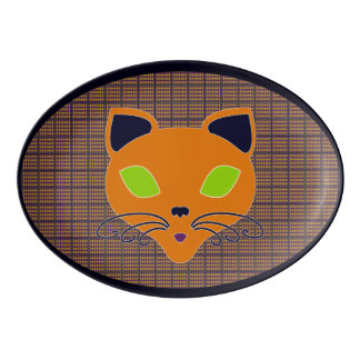 Retro Happy Halloween Cat Platter Porcelain Serving Platter