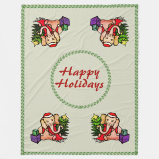 "Retro ""Happy Holidays"" Santa Christmas Elephants Fleece Blanket"