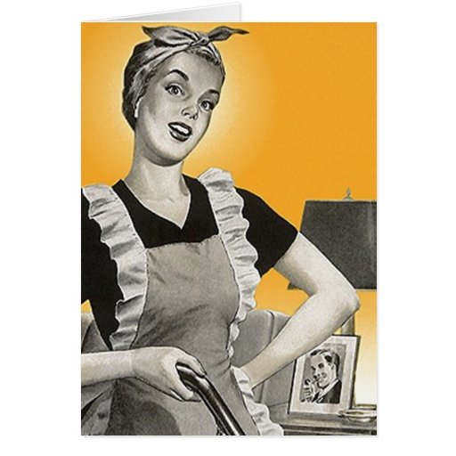 Retro Happy Suburban Homemaker Home Blank Cards