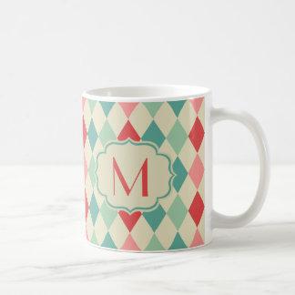 Retro Harlequin Geometric Pattern Monogram Coffee Mug