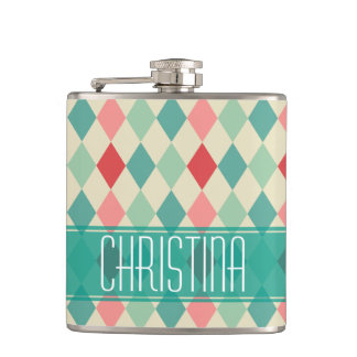 Retro Harlequin Geometric Pattern Personalized Hip Flask