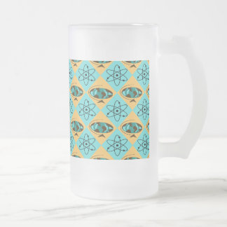 Retro Harlequin Globe Trotter Frosted Glass Mug