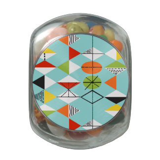 Retro Harlequin Pattern Glass Candy Jar