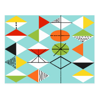 Retro Harlequin Pattern Postcard