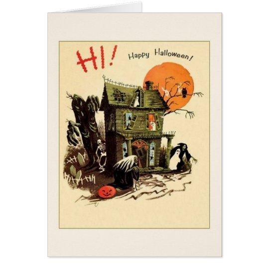 Retro Haunted House Halloween Greeting Card