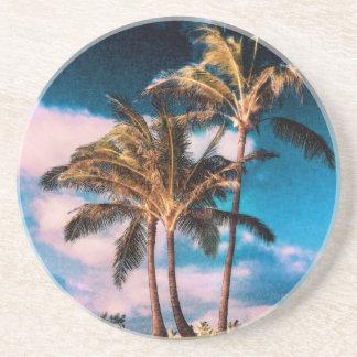 Retro Hawaiian Palm Trees Customized Palms Drink Coaster
