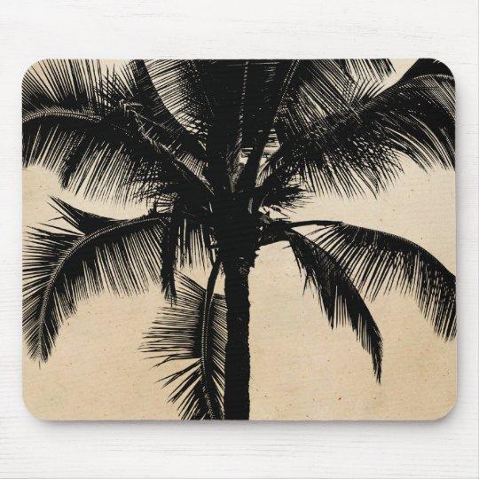 Retro Hawaiian Tropical Palm Tree Silhouette Black Mouse Pad