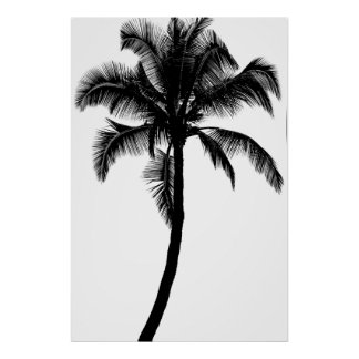 Retro Hawaiian Tropical Palm Tree Silhouette Black Poster