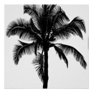 Retro Hawaiian Tropical Palm Tree Silhouette Black Poster