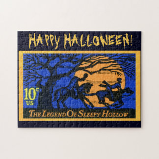 Retro Headless Horseman Stamp Jigsaw Puzzles