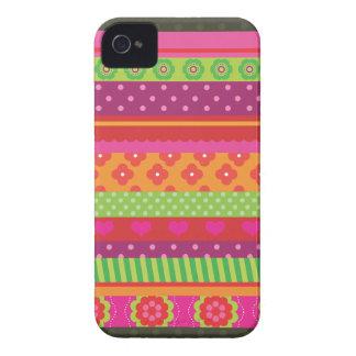Retro heart flower polka dot design blackberry iPhone 4 Case-Mate cases