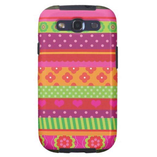 Retro heart flower polka dot design iphone case galaxy s3 cover