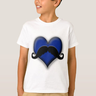 Retro Heart Mustache in Blue T-Shirt