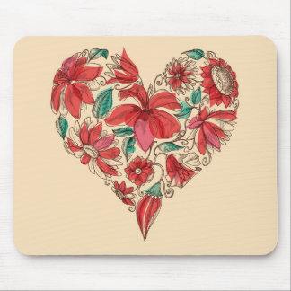Retro heart of flowers love symbol mousepad